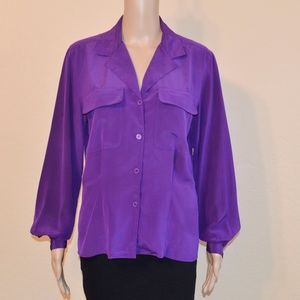 Vtg Christian Dior Purple Silky Button Up Blouse